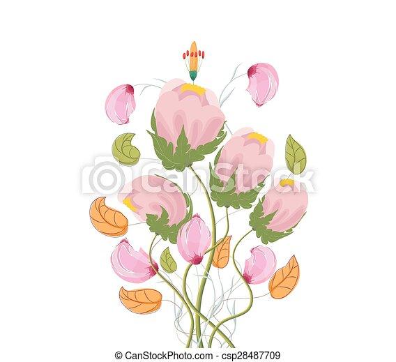 Stylized Poppy flowers, watercolor - csp28487709