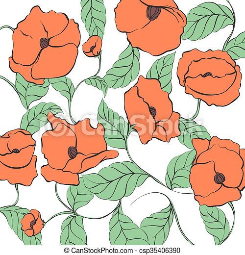 Stylized Poppy illustration - csp35406390