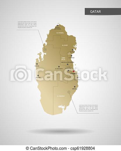 Stylized qatar map vector illustration. Stylized vector qatar map ...