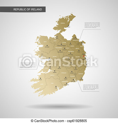 Map Of Ireland 3d.Stylized Republic Of Ireland Map Vector Illustration
