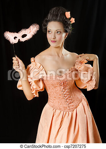 Stylized rococo portrait of beautiful brunette woman in historical costume with crinoline and mask. Low key - csp7207275