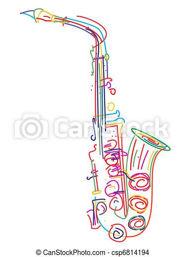 Stylized saxophone - csp6814194