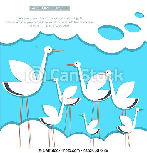 stylized stork on a background of blue sky with clouds - csp26587229