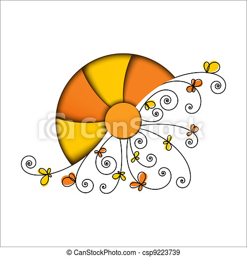 Stylized sun with floral elements on white background.