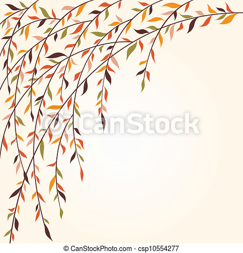 Stylized tree branches with leaves - csp10554277