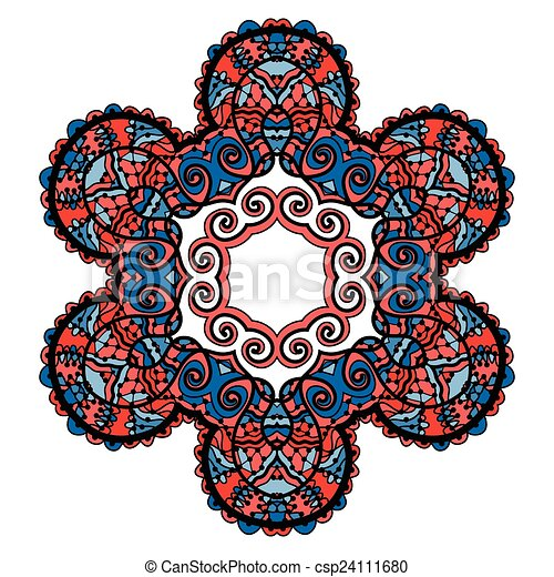 Stylized tribal mandala, circle decorative spiritual indian symbol of lotus flower, round ornament pattern, vector illustration over white background with red and blue color. - csp24111680