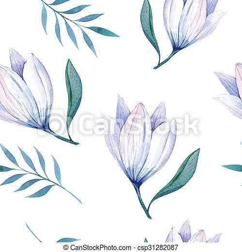 stylized, watercolor, behang, seamless, illustratio, bloemen - csp31282087