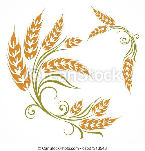 Stylized wheat pattern  - csp27313543