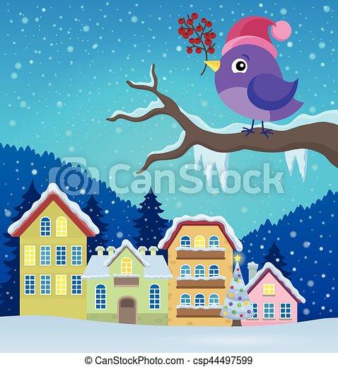 Stylized winter bird theme image 3 - csp44497599