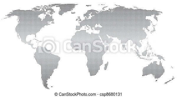 Stylized world map stylized world map square dotsctor stylized world map vector sciox Image collections