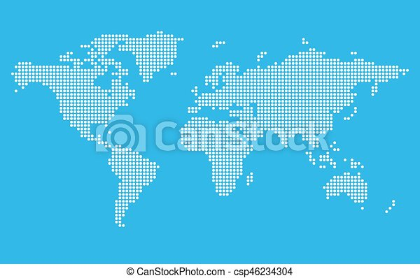 Stylized world map on blue background digital pixel style stylized world map vector sciox Image collections