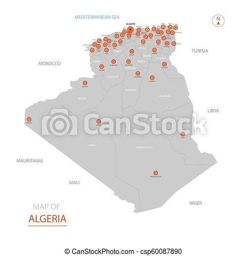 Stylizovany Mapa Vektor Alzirsko Mapa Alzirsko Big Showing