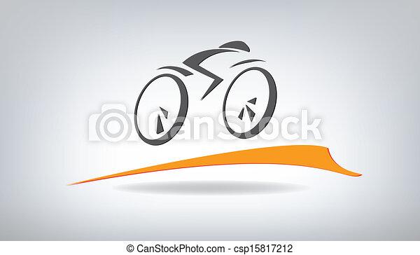 stylizovaný, vektor, jezdit na kole, ilustrace - csp15817212