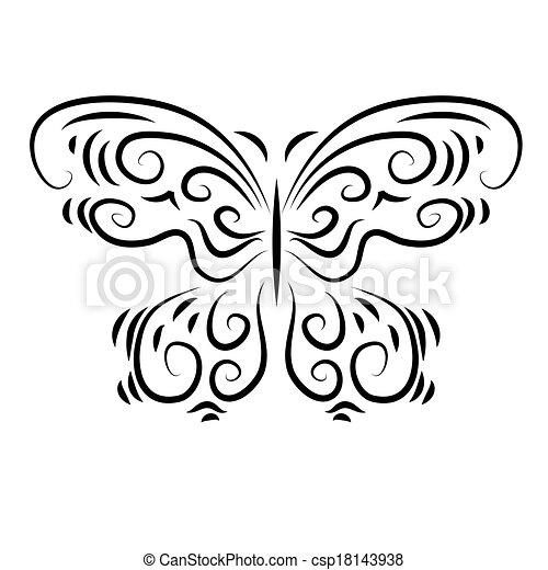 stylizowany, dekoracyjny, piękny, motyl, dekoracyjny - csp18143938
