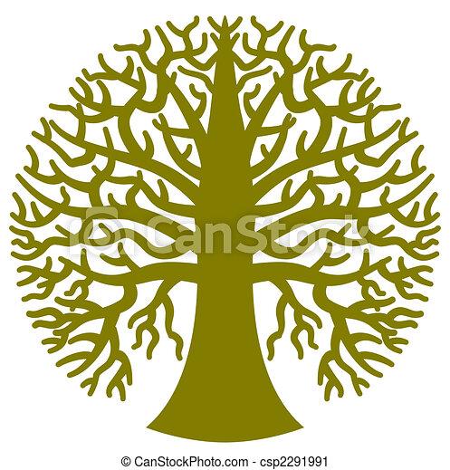 stylizowany, drzewo, okrągły - csp2291991