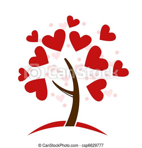stylizowany, drzewo, robiony, miłość cerca - csp6629777