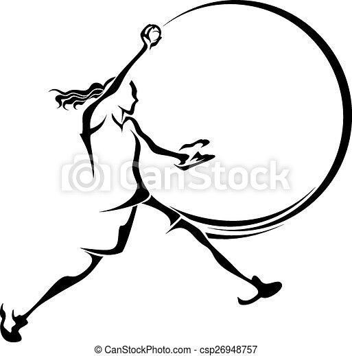 stylizowany, dzban, softball - csp26948757