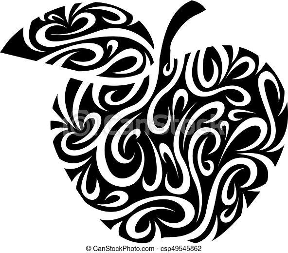 stylizowany, jabłko - csp49545862