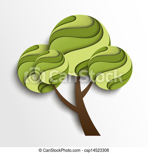 stylizowany, lato, drzewo - csp14523308