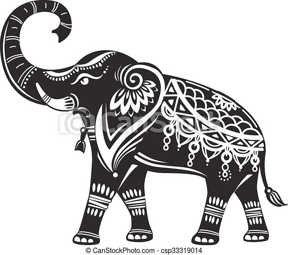 stylizowany, ozdobny, słoń - csp33319014