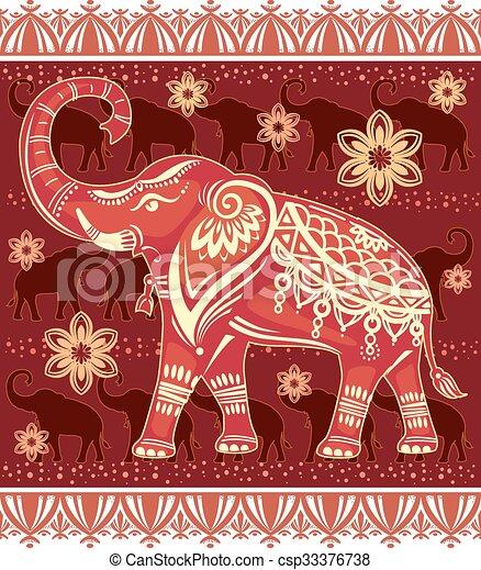 stylizowany, ozdobny, słoń - csp33376738