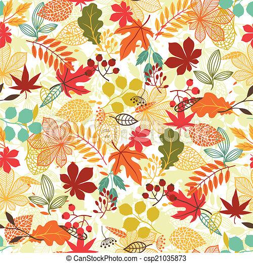 stylizowany, próbka, seamless, leaves., jesień, wektor - csp21035873