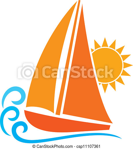stylizowany, (sailboat, symbol), jacht - csp11107361