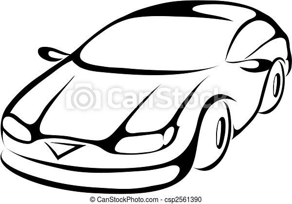 stylizowany, wóz, rysunek - csp2561390