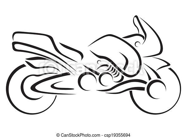 stylizowany, wektor, illustra, motocykl - csp19355694