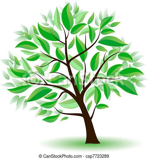 stylizowany, zielone drzewo, leaves. - csp7723289