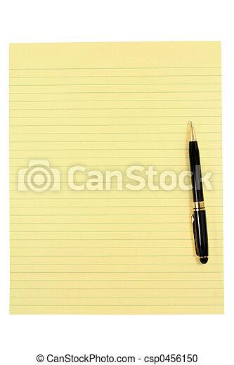 stylo, papier, jaune - csp0456150