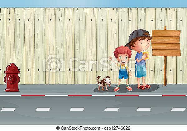 Chicos con sus mascotas en la calle - csp12746022