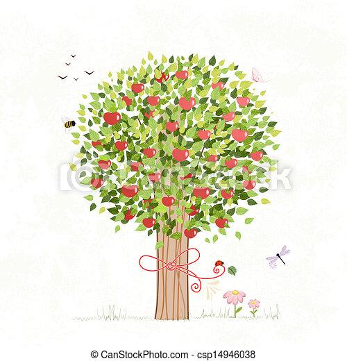 su, diseño, árbol, manzana, arco - csp14946038