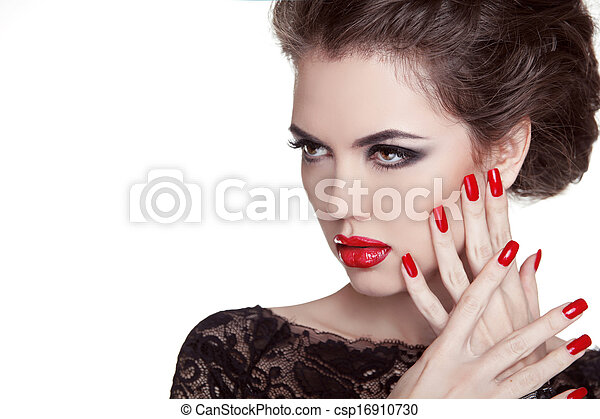 su., donna, nails., lips., fare, isolato, fascino, moda, portrait., fondo, manicured, bianco rosso - csp16910730