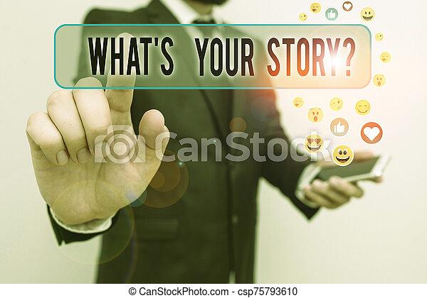 su, escritura, ser, journey., concepto, question., texto, alguien, mi, historia, poseer, qué, significado, sobre, preguntado, s - csp75793610