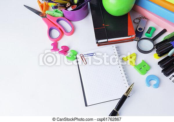 su., .photo, spazio, blocco note, penna, fondo, chiudere, bianco, copia, aperto - csp61762867