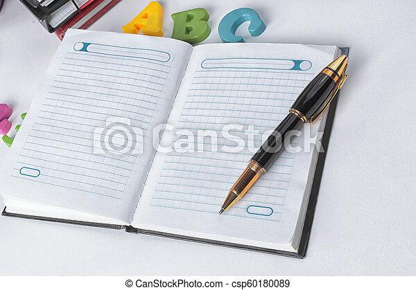 su., .photo, spazio, blocco note, penna, fondo, chiudere, bianco, copia, aperto - csp60180089