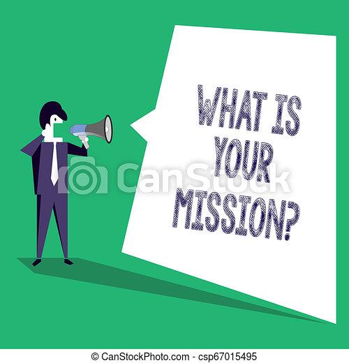 Señal de texto que muestra cuál es su misión. Foto conceptual objetivo positivo enfocado en lograr el éxito. - csp67015495