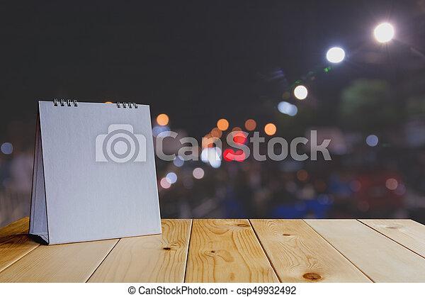 Su Spazio Luce Scuro Bokeh Legno Fondo Tavola Bianco Copia Calendario Beffare Canstock