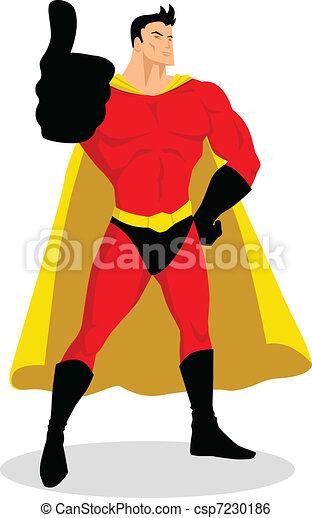 su, superhero, pollici - csp7230186