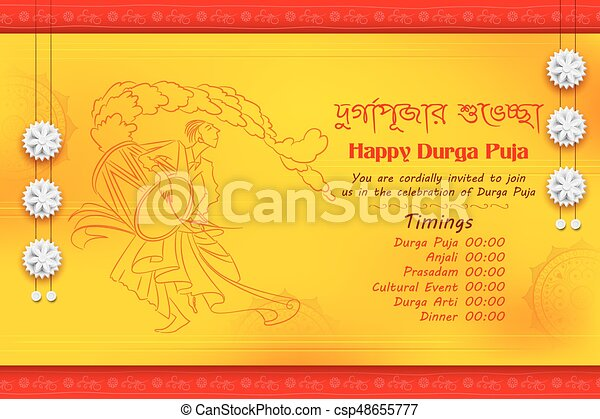 Illustration of in subho bijoya happy dussehra background vectors subho bijoya happy dussehra background with bangali text meaning durga puja greeting csp48655777 m4hsunfo
