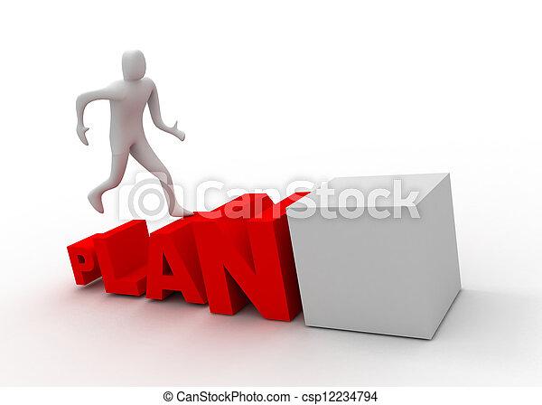 subida, 3d, plan, hombre - csp12234794
