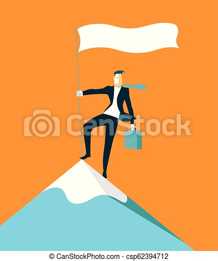 Sube a la cima de la montaña. El logro del éxito. - csp62394712