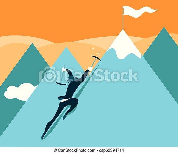 Sube a la cima de la montaña. El logro del éxito. - csp62394714