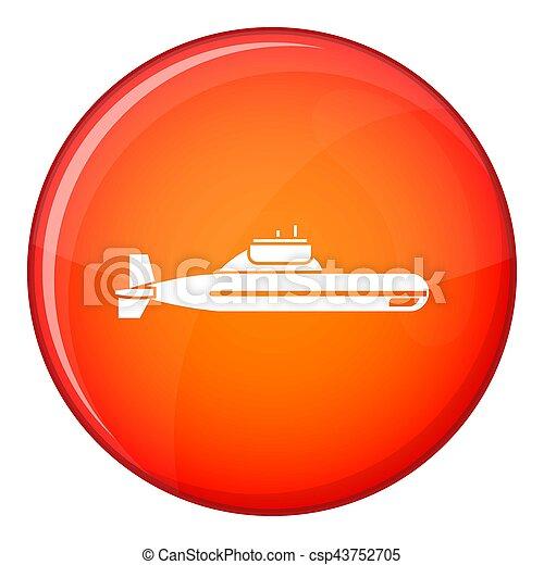 Submarine icon, flat style - csp43752705