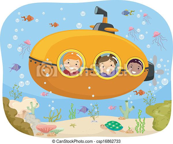 Submarine Kids Illustration Of Kids Riding A Mini Submarine