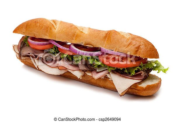 Submarine sandwich on a white background - csp2649094