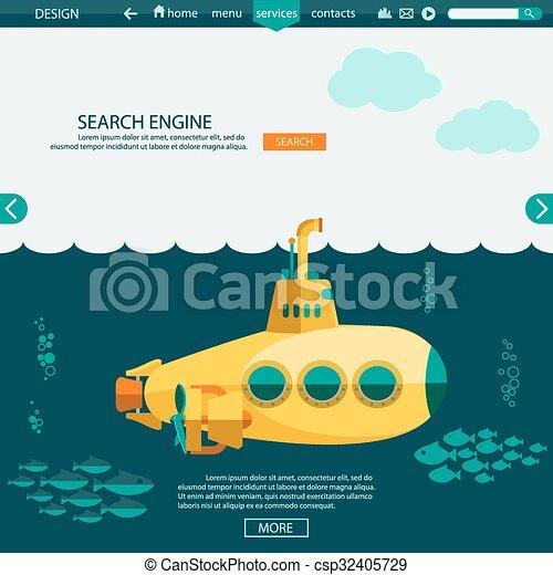 submarine undersea seo website vector template submarine undersea