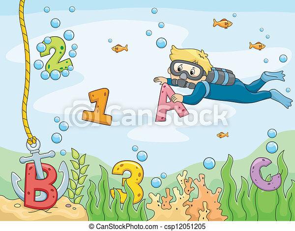 submarino, abc, plano de fondo, escena, 123's - csp12051205