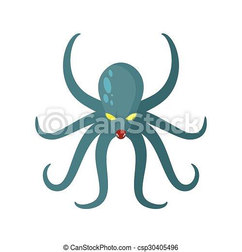 Submarino, almeja, monstruo, enojado, horrible, kraken, ilustración ...